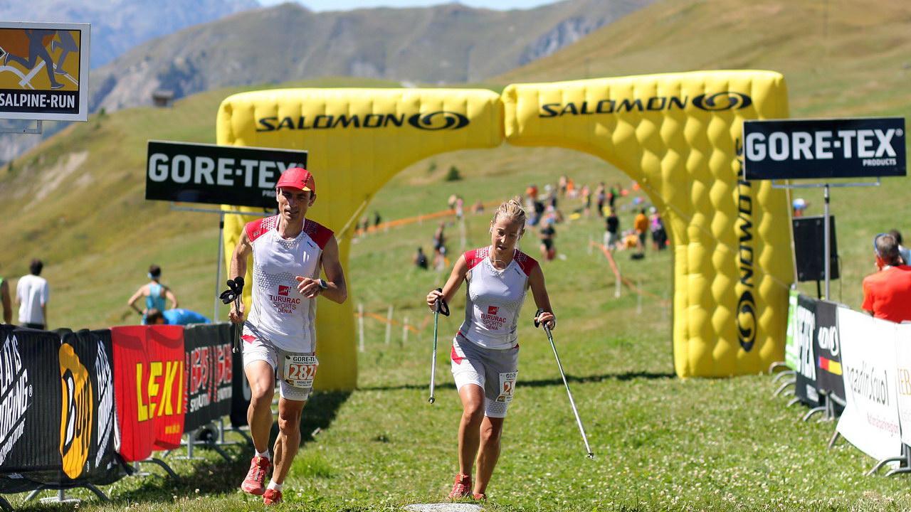 Patri y Andrés en la Transalpine-Run 2013, (2 corredores del pelotón… 2 corredores felices…)